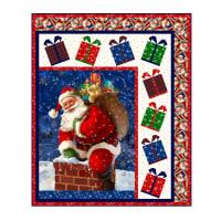 "QT Fabrics Digital Gifts From Santa 48"" x 58"" Santa Pnl Quilt Kit"