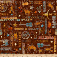 QT Fabrics Digital Lil' Bit Country Country Phrases Brown