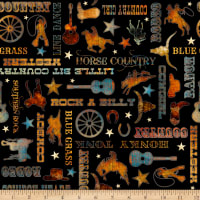 QT Fabrics Digital Lil' Bit Country Country Phrases Black