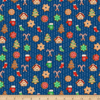 QT Fabrics Sweater Weather Christmas Cookies Navy
