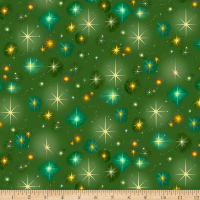 QT Fabrics Digital Christ Is Born Stars Green