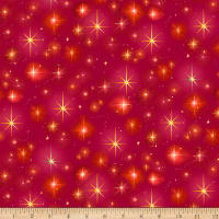 QT Fabrics Digital Christ Is Born Stars Red