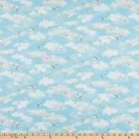 P&B Textiles By The Peaceful Shore Clouds & Seagulls Blue