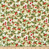 P&B Textiles Rejoice Metallic Pine Cones/Berries Multi