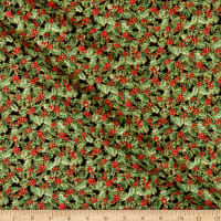 P&B Textiles Rejoice Metallic Holly Leaves Multi