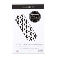 Maywood Studio Solitaire Whites Geo Tumbler Table Runner Kit Black/White