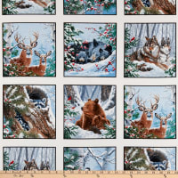 "Winter Companions Winter Block 24"" Panel Snow"