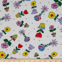 Fabric Merchants Cotton Printed T-Stretch Knit Floral Garden Ivory/Pink/Purple