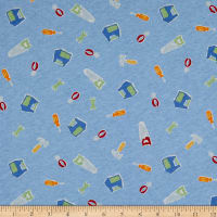 Fabric Merchants Cotton Printed T-Knit Tools Blue/Green