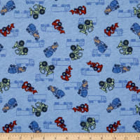 Fabric Merchants Cotton Printed T-Knit Construction Trucks Blue/Red