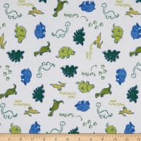 Fabric Merchants Cotton Printed T-Stretch Knit Dinosaurs Ivory/Olive