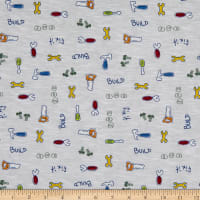 Fabric Merchants Cotton Printed T-Stretch Knit Tools Ivory/Green/Red