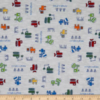 Fabric Merchants Cotton Printed T-Stretch Knit Construction Site Ivory/Blue/Green