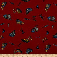 Fabric Merchants Cotton Printed T-Knit Construction Trucks Red/Gray