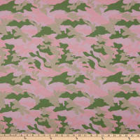 Fabric Merchants Cotton Printed T-Stretch Knit Camo Pink/Green