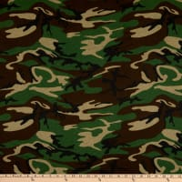 Fabric Merchants Cotton Printed T-Stretch Knit Camo Army/Brown