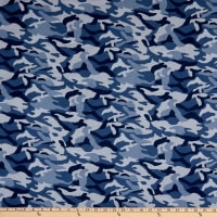 Fabric Merchants Cotton Printed T-Stretch Knit Camo Blue/Denim
