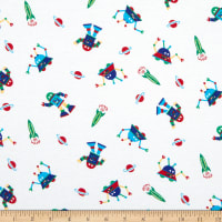 Fabric Merchants Cotton Printed T-Stretch Knit Aliens and UFOs Ivory/Blue
