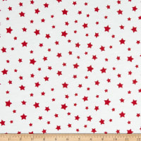 Fabric Merchants Cotton Printed T-Knit Stars Ivory/Red