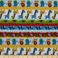 Fabric Merchants Cotton Printed T-Knit Zoo Red/Blue/Lime