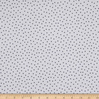 Fabric Merchants Cotton Printed T-Stretch Knit Pin Polka Dots Ivory/Purple