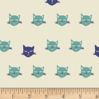 Art Gallery Oh, Meow! Cat Nap Blu Stretch Knit Green/Blue/White