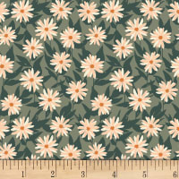 Art Gallery Her & History Mildred's Pressed Flowers Stretch Knit Peach/Green