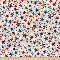 Timeless Treasures Let Freedom Ring Various Patriotic Stars Cream