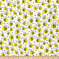 Timeless Treasures What's The Buzz Cute Plump Bees White