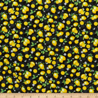 Timeless Treasures Splash Of Lemon Small Etched Lemons Black