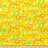 Timeless Treasures Splash Of Lemon Packed Lemon Slices Yellow