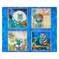 """3 Wishes Go Owl Out 36"""" Panel Royal"""