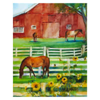 "3 Wishes Digital Sunflower Stampede Barn 36"" Panel Multi"
