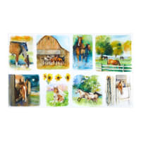 "3 Wishes Digital Sunflower Stampede Farm Scenes 24"" Panel White"
