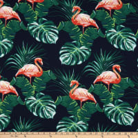 Telio Meadow Rayon Poplin Flamingo Print Navy