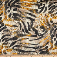 Telio Palo Metallic Polyester Chiffon Animal Print Yellow Black