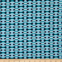Famous Designer ITY Knit Mod Waves Sky Blue/Teal/White/Navy