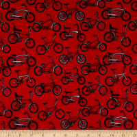 E.Z. Fabric Exclusive Minky Bikes Red