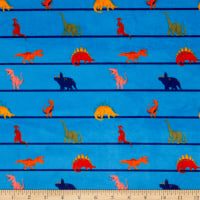 E.Z. Fabric Exclusive Minky Dino Lines Blue