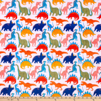 E.Z. Fabric Exclusive Minky Dino Friends On Minky  Exclusive Cream