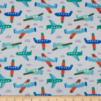 E.Z. Fabric Exclusive Minky Planes & Clouds  White