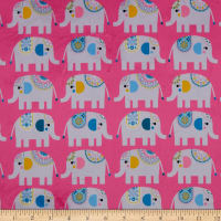E.Z. Fabric Exclusive Minky Elephant Love Pink