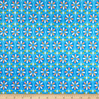 E.Z. Fabric Exclusive Minky Flower Wheel Blue
