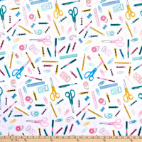 E.Z. Fabric Exclusive Minky School Supplies White