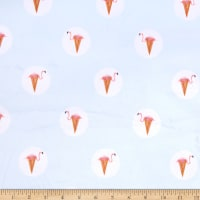 E.Z. Fabric Exclusive Minky Flamingo Dot Cone Light Blue
