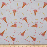 E.Z. Fabric Exclusive Minky Flamingo Ice Cream Cone White