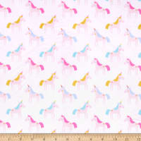 E.Z. Fabric Exclusive Minky Unicorn Rainbow Cream