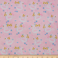 E.Z. Fabric Exclusive Minky You Are The Swan For Me Light Pink