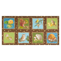 "Nature Trail Digital Animal Blocks 24"" Panel Brown"