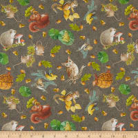 Nature Trail Digital Tossed Animals Taupe